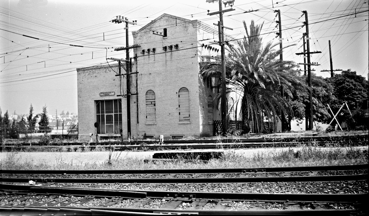 Alan K. Weeks photo. All Rights Reserved. Domino6145@aol.com Photographer: Alan K Weeks Location: Vineyard Sub Station near Venice Blvd and San Vicente Blvd Date: June 06 1951 Railroad: Pacific Electric Car#: P.E. Vineyard Sub Station # 37 Line: Venice Short Line Filed in Envelope 26 Image Notes: Scanned Steve Crise Photo 2014