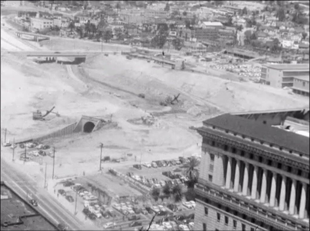 Hill Street Tunnel is nearly obliterated in this image from the early 1950s