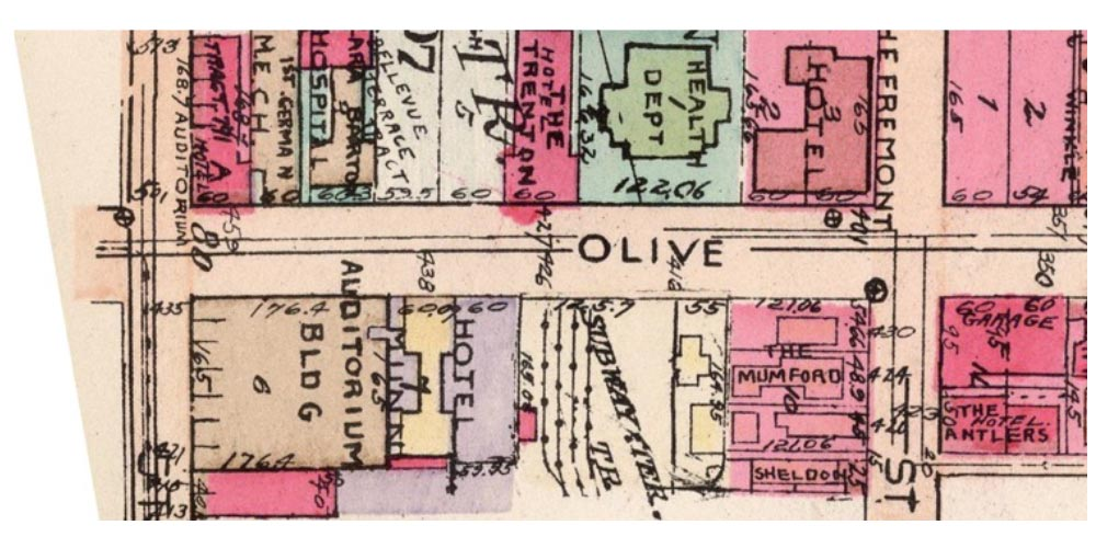 A vintage map of Olive Street in Los Angeles