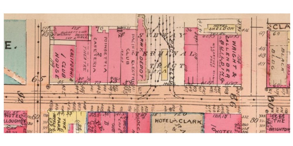 A vintage map showing the Subway Terminal Building in Los Angeles
