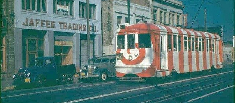 LATL no. 1257 Candy Cane Car on the S Line.